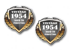 2 pcs of 1954 Year Dated Vintage Shield Retro Vinyl Car Motorcycle Cafe Racer Helmet Sticker 55x50mm